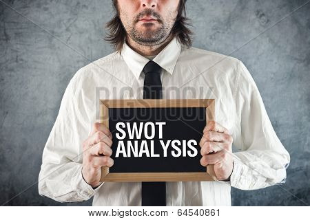 Businessman Holding Blackboard With Swot Analysis Title