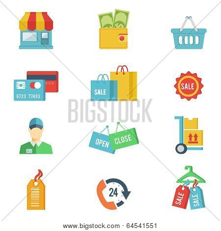 Flat design vector shopping icons