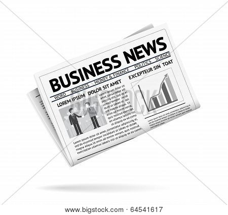 Folded newspaper presenting business news