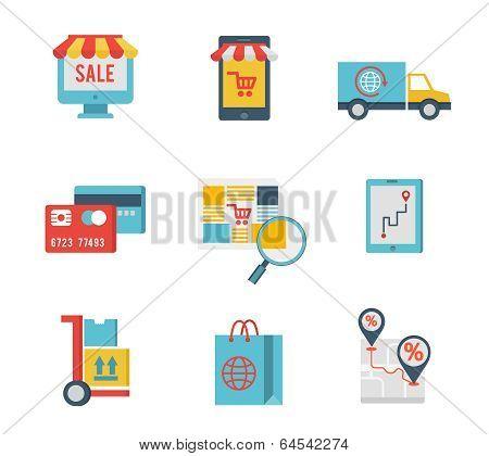 e-commerce symbols and internet shopping elements