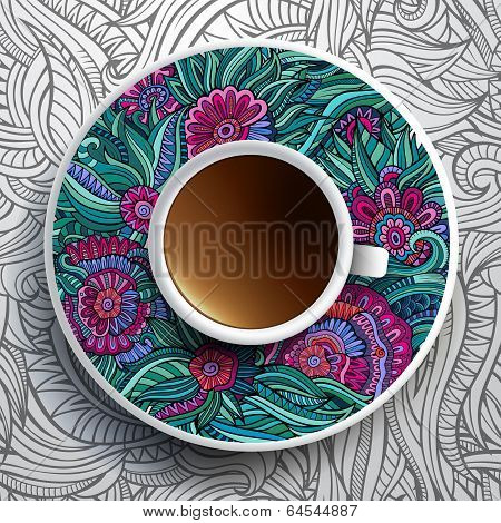 Cup of coffee and floral ornament