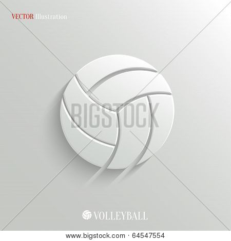 Volleyball icon - vector white app button