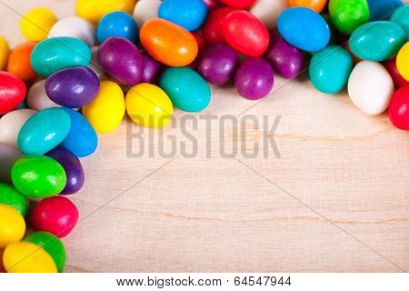 Frame  A Background From Colorful Sweets Of Sugar Candies