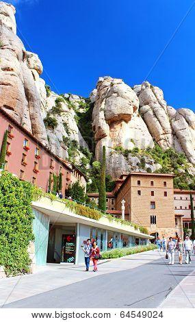 People Are Going To Montserrat Benedictine Monastery, Spain