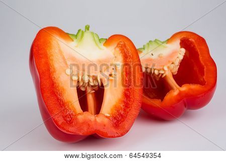 Cross-section Of A Red Bell Pepper
