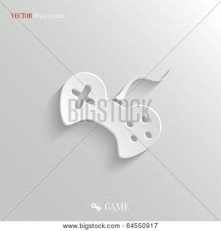 Video Game Icon - Vector White App Button