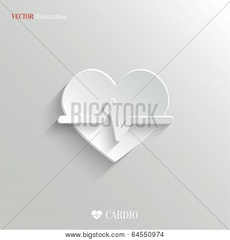 Cardiology Icon - Vector White App Button