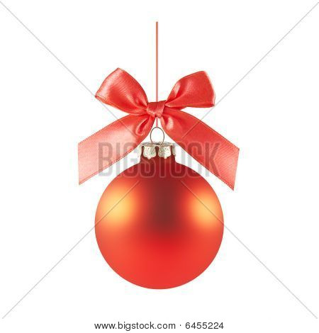 Red Christmas Ball With A Bow