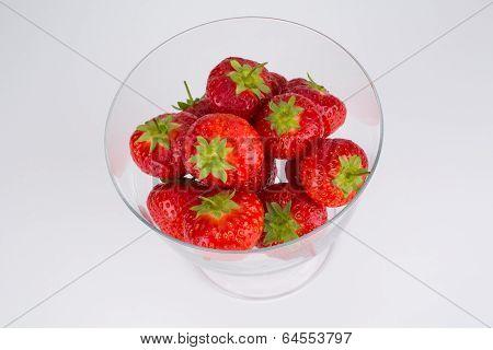 Succulent Ripe Strawberries In A Glass Dish