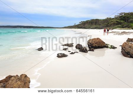 Hyams Beach, Australia - April 9, 2014;  Tourists Enjoy The White Sands And Aqua Waters At Hyams Bea
