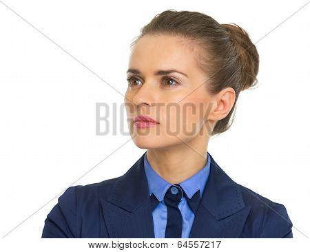 Confident Business Woman Looking On Copy Space