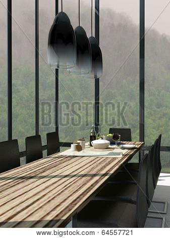 Picture of Dining room interior with wooden table