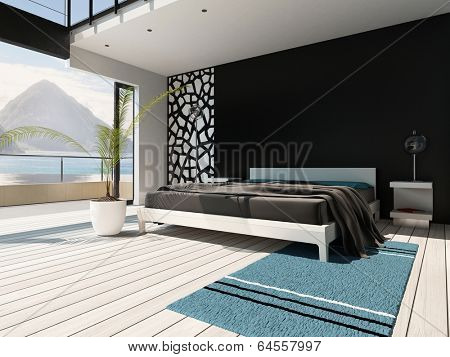 Picture of luxurious bedroom interior with king-size bed