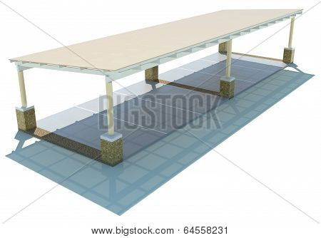 3D Outdoor Carpark Roofing In Top View