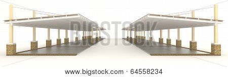 3D Outdoor Carpark Roofing In Side View
