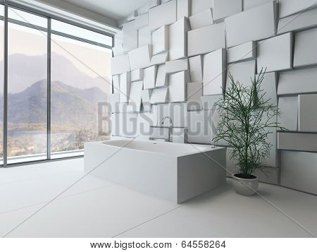 Picture of modern luxury bathroom interior with bathtub against mosaic tile wall