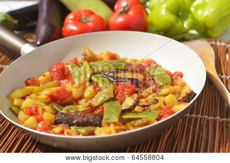 Turkish vegetable saute in a pan