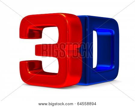 3D symbol on white background. Isolated image