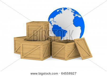 wooden boxes. Isolated 3D image