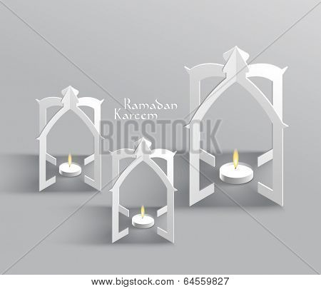 Vector 3D Muslim Paper Sculpture Oil Lamp Translation: Ramadan K