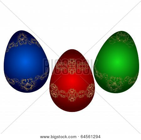 Easter  multicolor eggs. Vector illustration. Victorian ornament on egg