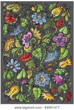 vector colorful fantasy floral background