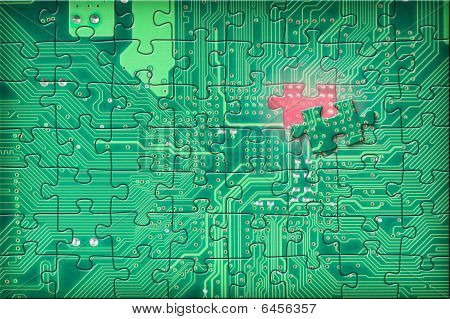 Green Electronic Circuit Puzzle Background
