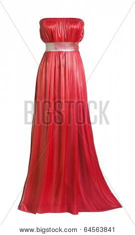 red silk evening dress isolated on white