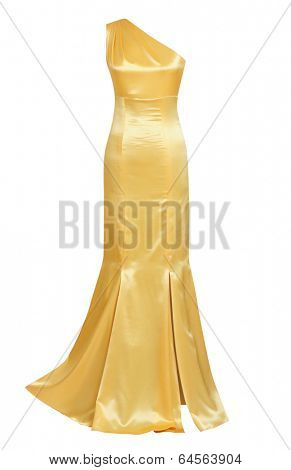 gold silk evening dress isolated on white