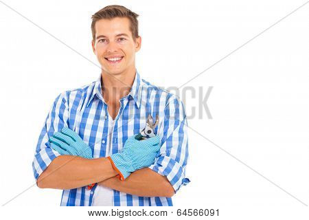 portrait of young man with secateurs isolated on white background