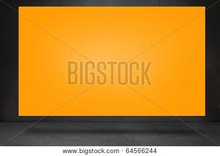 Composite image of orange card against black wall