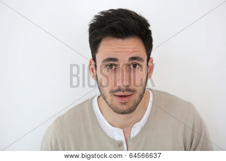 Portrait of man being suprised