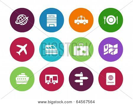 Travel circle icons on white background.