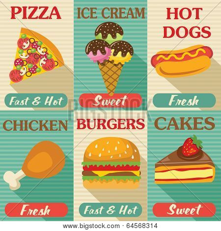 Fast food posters set with flat design. Vector background