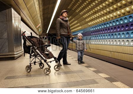 Tourists At Subway Station