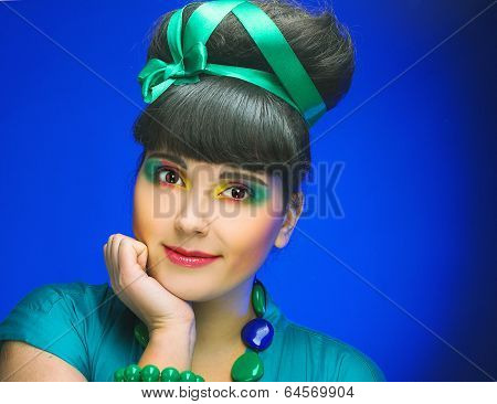 Young charming plump woman
