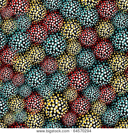 Seamless pattern with  furry balls.