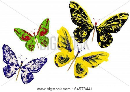 Colorful Paint Made Butterfly Set