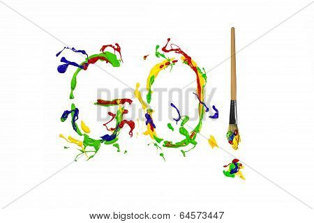 Colorful Paint Splash Painted Word Go