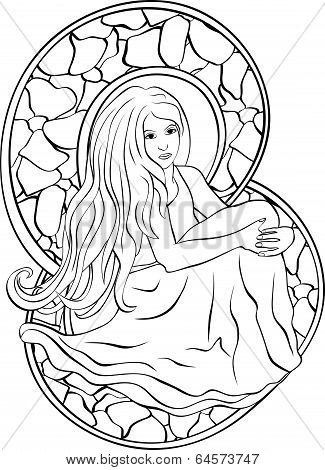 Beautiful sitting girl stained glass