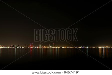 A broad view of beautiful Bahrain skyline at night