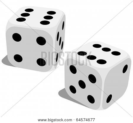 White dice with double six roll. No gradients of effects.