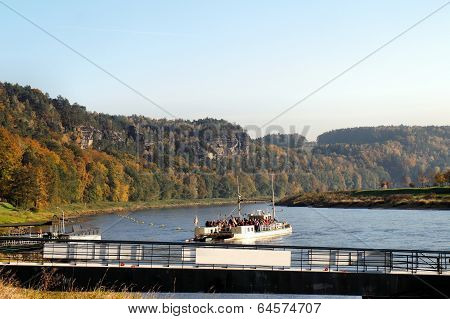 Ferry on the Elbe river