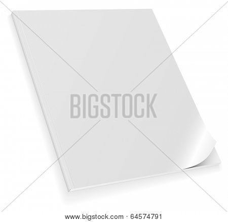 Illustration of closed blank magazine with curled cover isolated on white background.