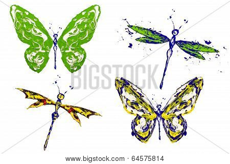 Green Yellow Blue Painted Butterflies And Dragonflies