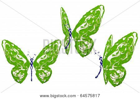Green, Blue And White Paint Made Butterfly Set