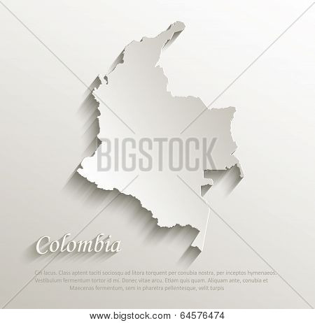 Colombia map card paper 3D natural vector