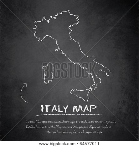 Italy map blackboard chalkboard vector