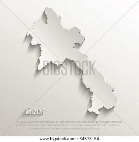 Laos map card paper 3D natural vector