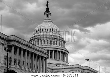 Washington DC - The Capitol dome detail in cloudy dramatic day - Black and White